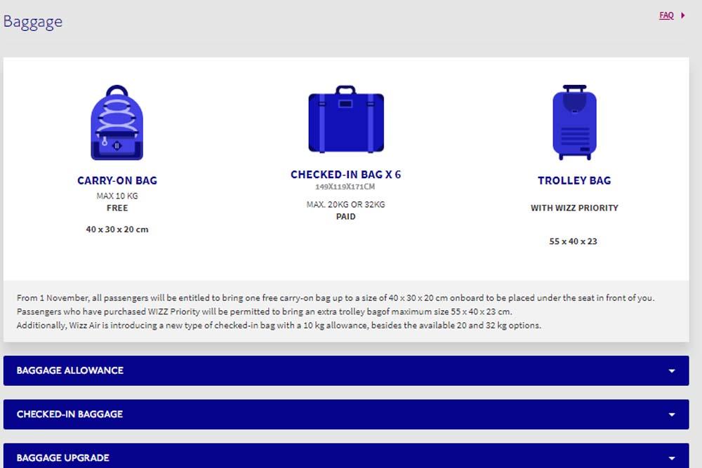 Лоукостер WizzAir меняет правила провоза багажа