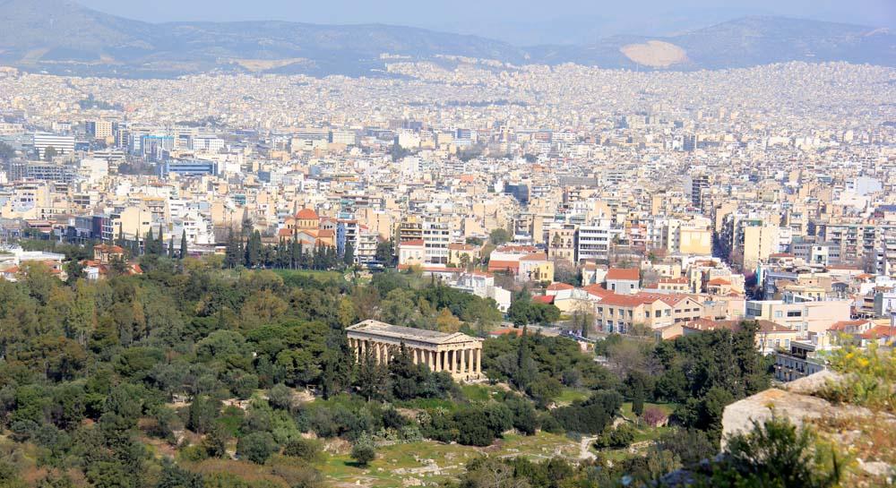 Вид с Акрополя на храм Зевса
